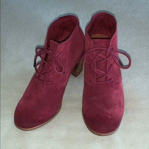 Toms Lunata Lace Up Booties in Oxblood